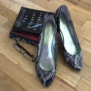 Sophisticated GUESS Faux Snakeskin Flats